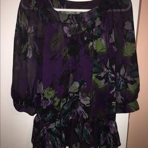 Sheer purple blouse w/ 3/4 sleeve & peplum bottom